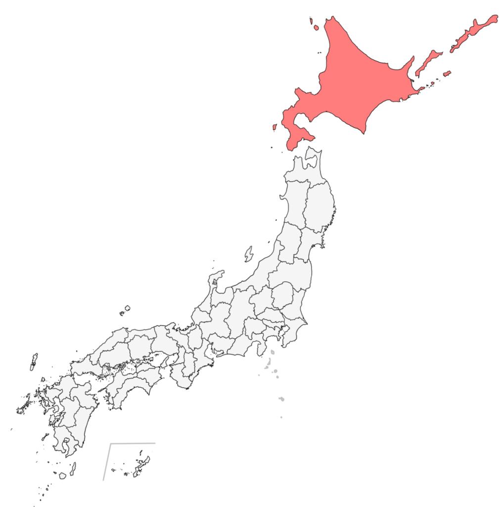 日本 北海道 白地図