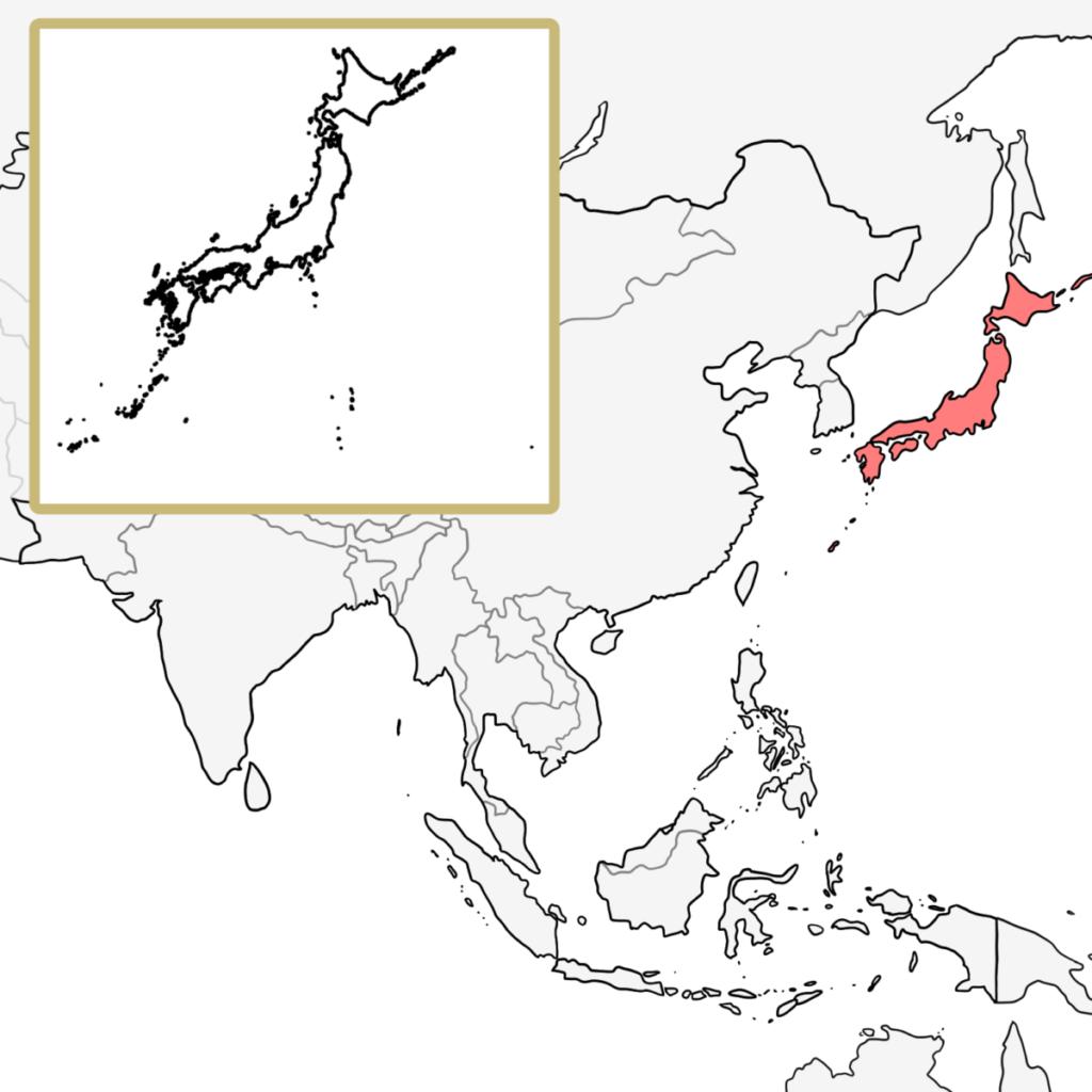 アジア 日本 地図