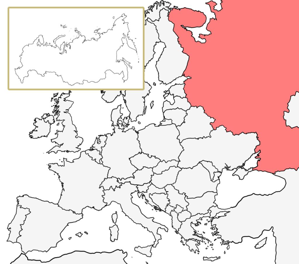 ヨーロッパ 白地図 ロシア