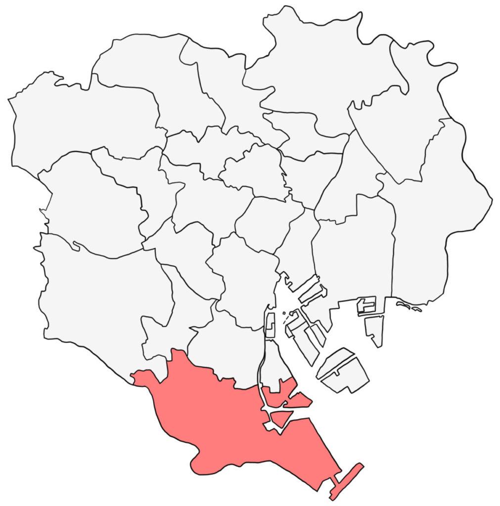 東京23区 大田区 白地図
