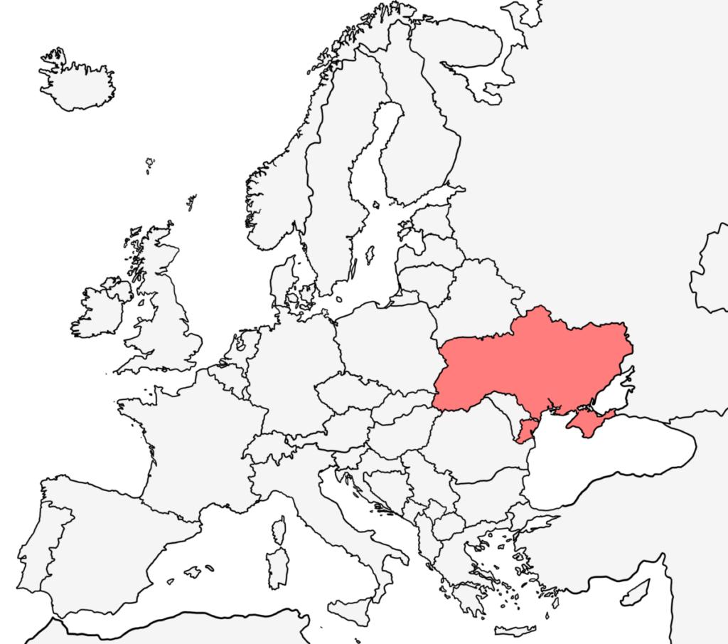ヨーロッパ 白地図 ウクライナ