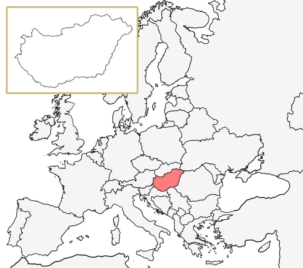 ヨーロッパ 白地図 ハンガリー