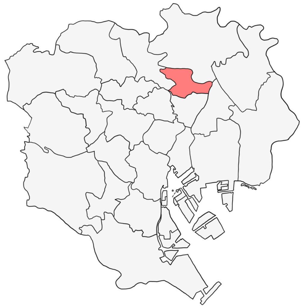 東京23区 荒川区 白地図