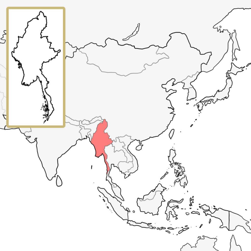 アジア ミャンマー 地図