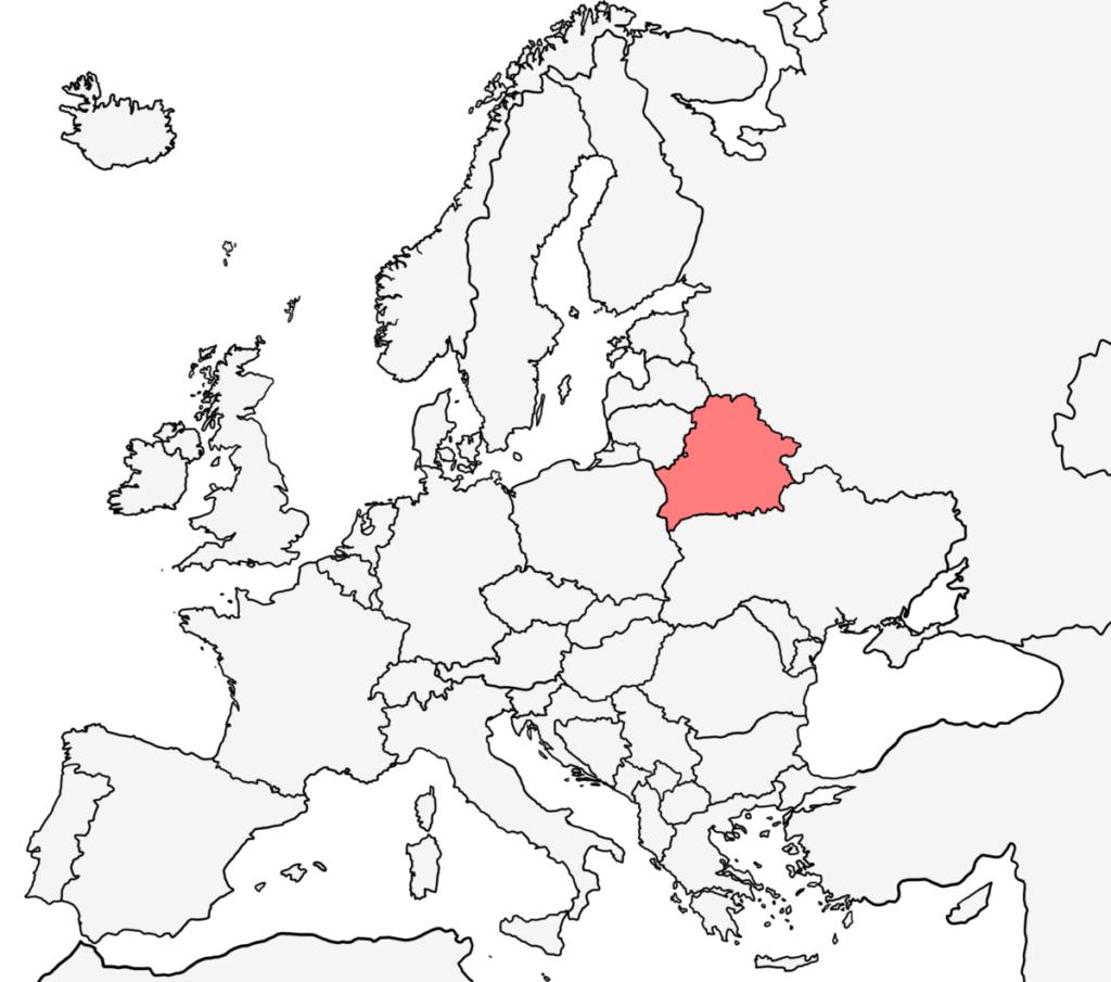 ヨーロッパ 白地図 ベラルーシ