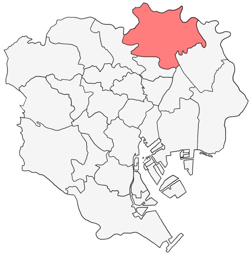 東京23区 足立区 白地図