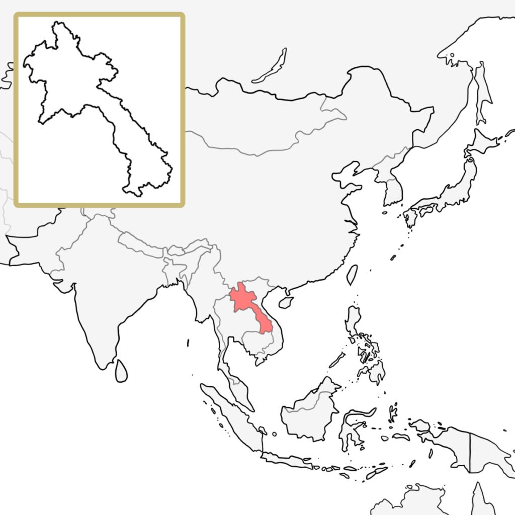 アジア ラオス 地図