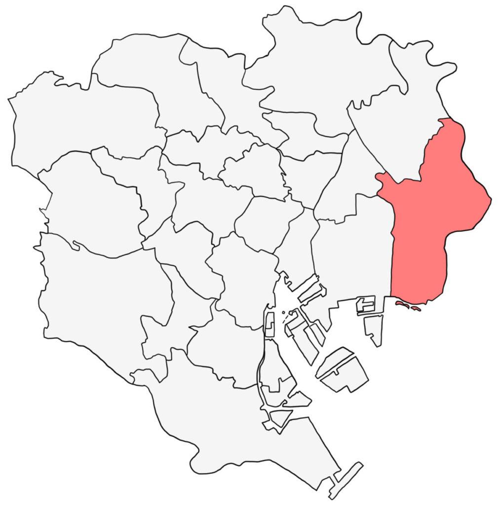 東京23区 江戸川区 白地図