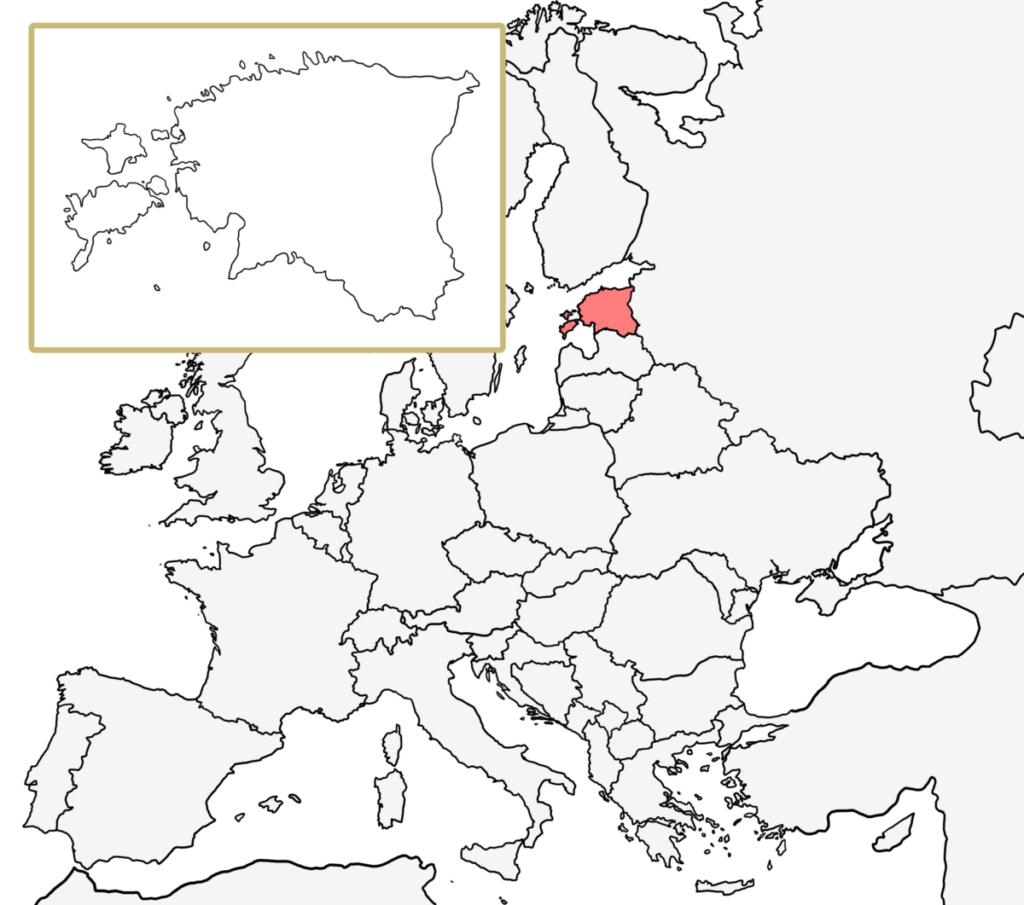 ヨーロッパ 白地図 エストニア