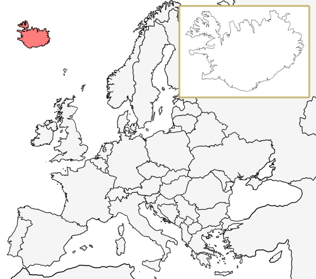 ヨーロッパ 白地図 アイスランド