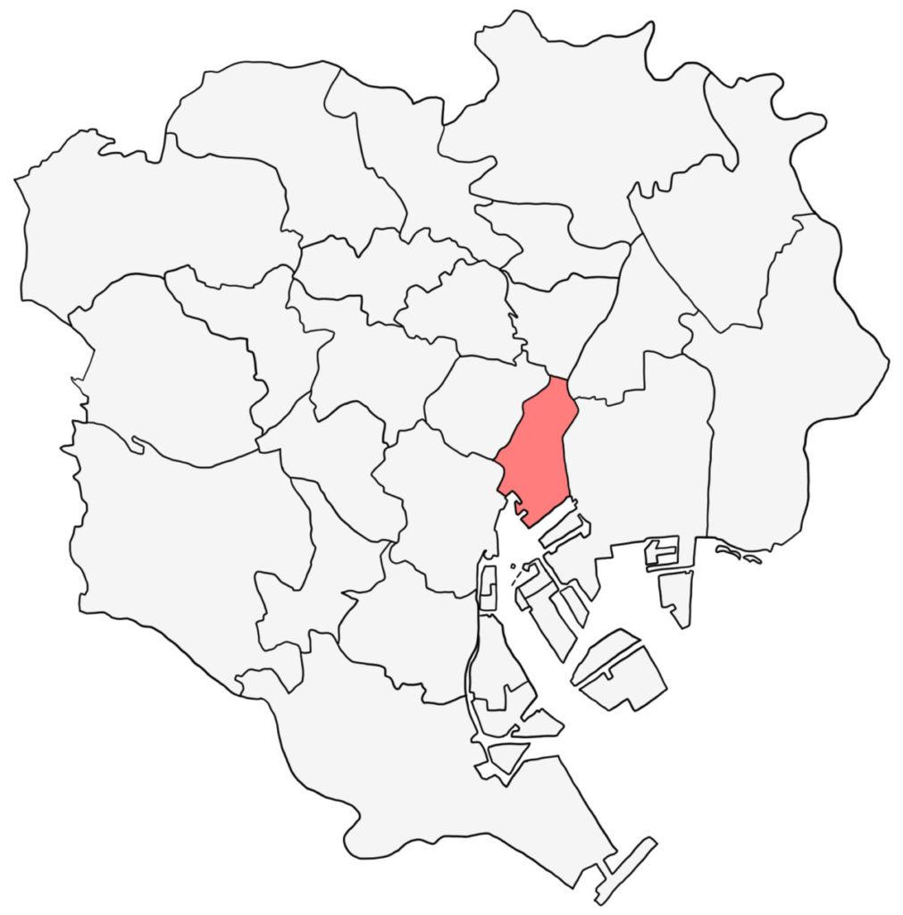 東京23区 中央区 白地図
