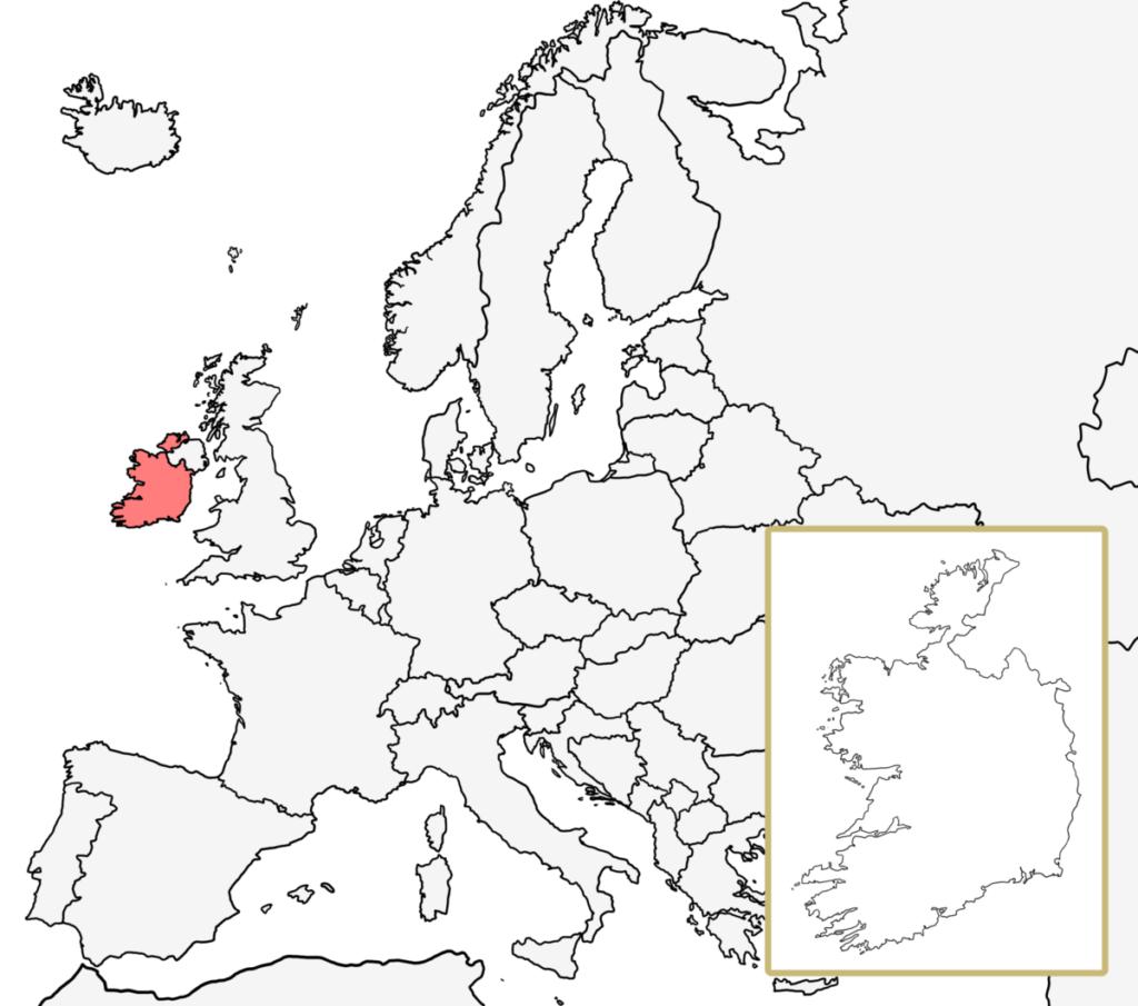 ヨーロッパ 白地図 アイルランド