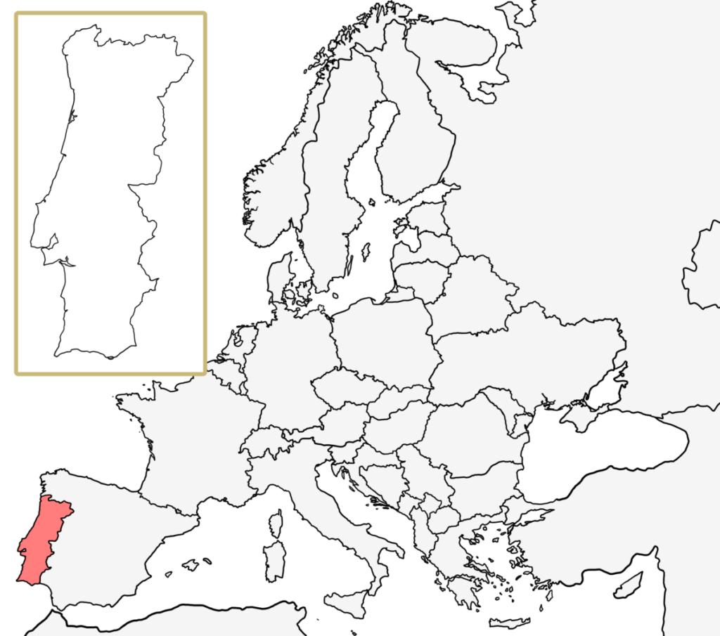 ヨーロッパ 白地図 ポルトガル