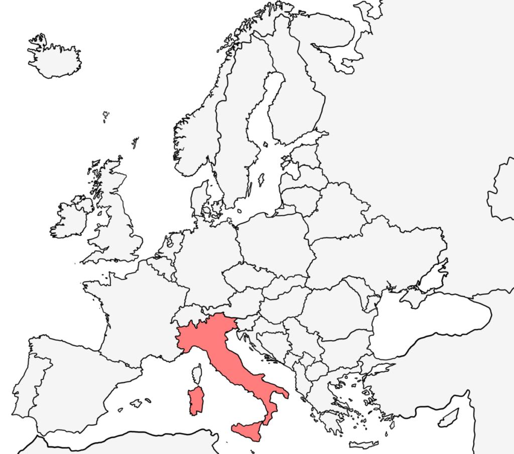 ヨーロッパ 白地図 イタリア