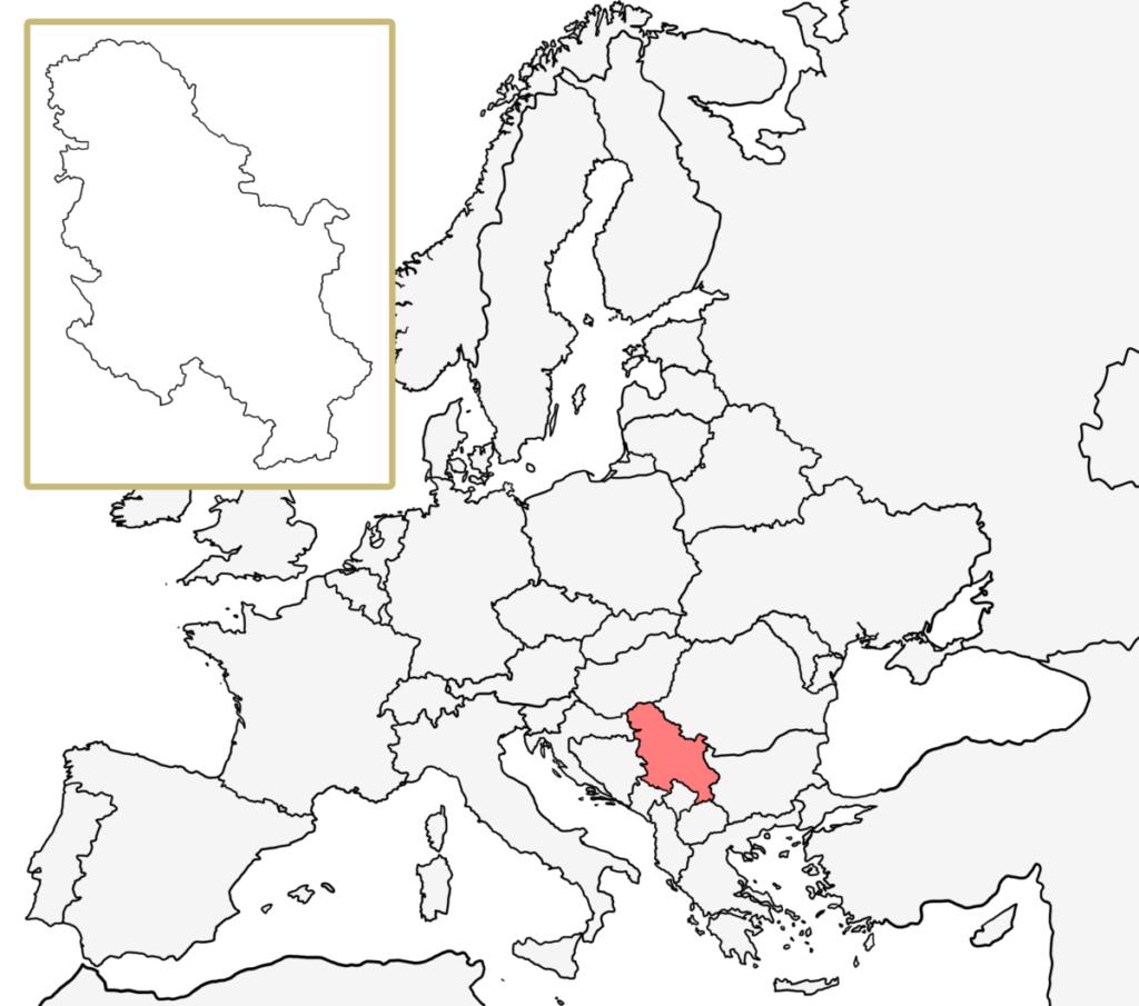 ヨーロッパ 白地図 セルビア