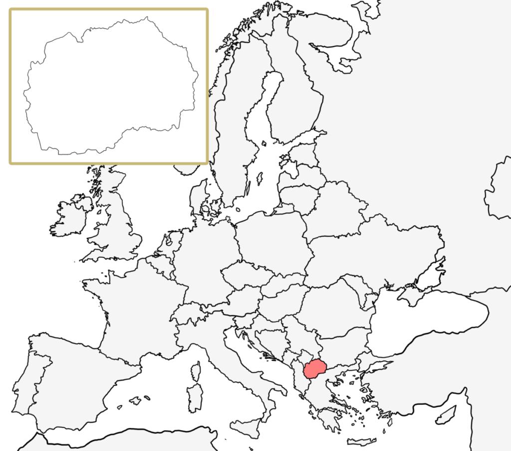 ヨーロッパ 白地図 北マケドニア