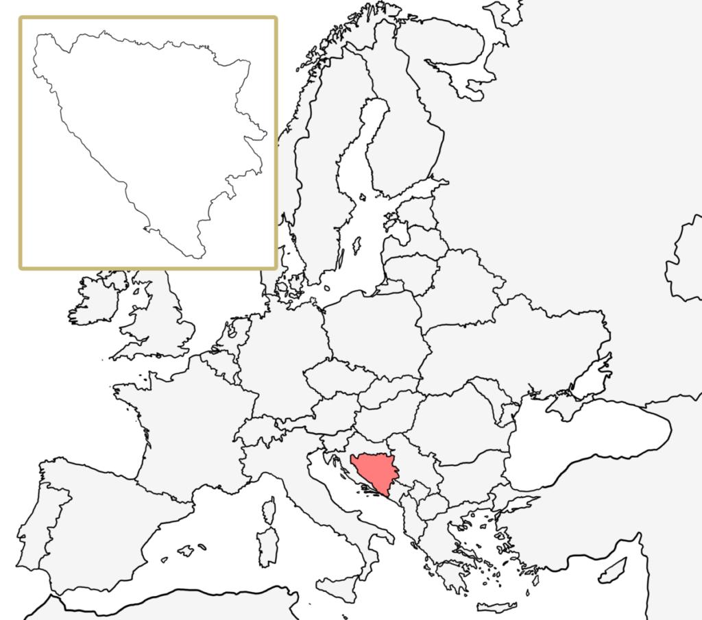 ヨーロッパ 白地図 ボスニア・ヘルツェゴビナ