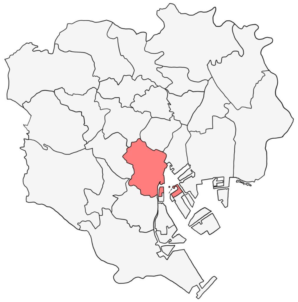 東京23区 港区 白地図