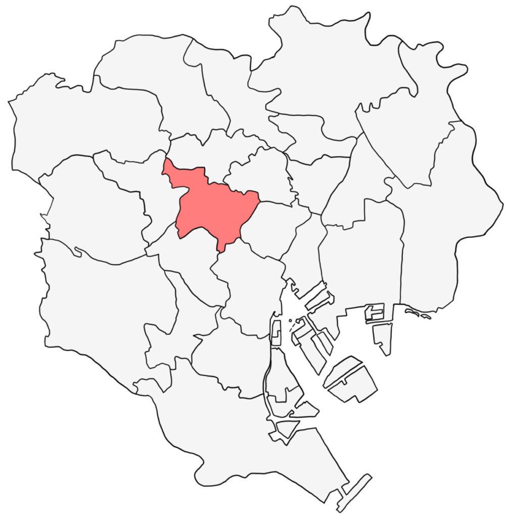 東京23区 新宿区 白地図