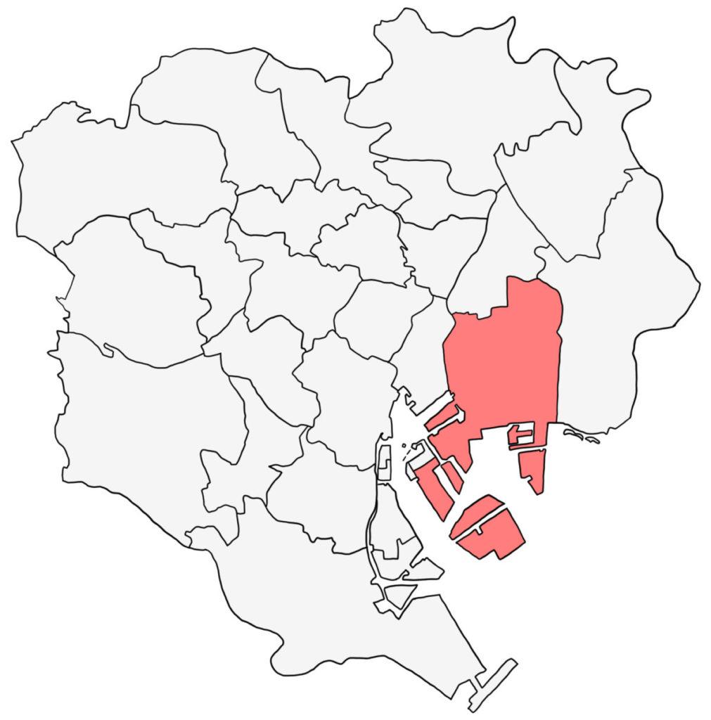 東京23区 江東区 白地図