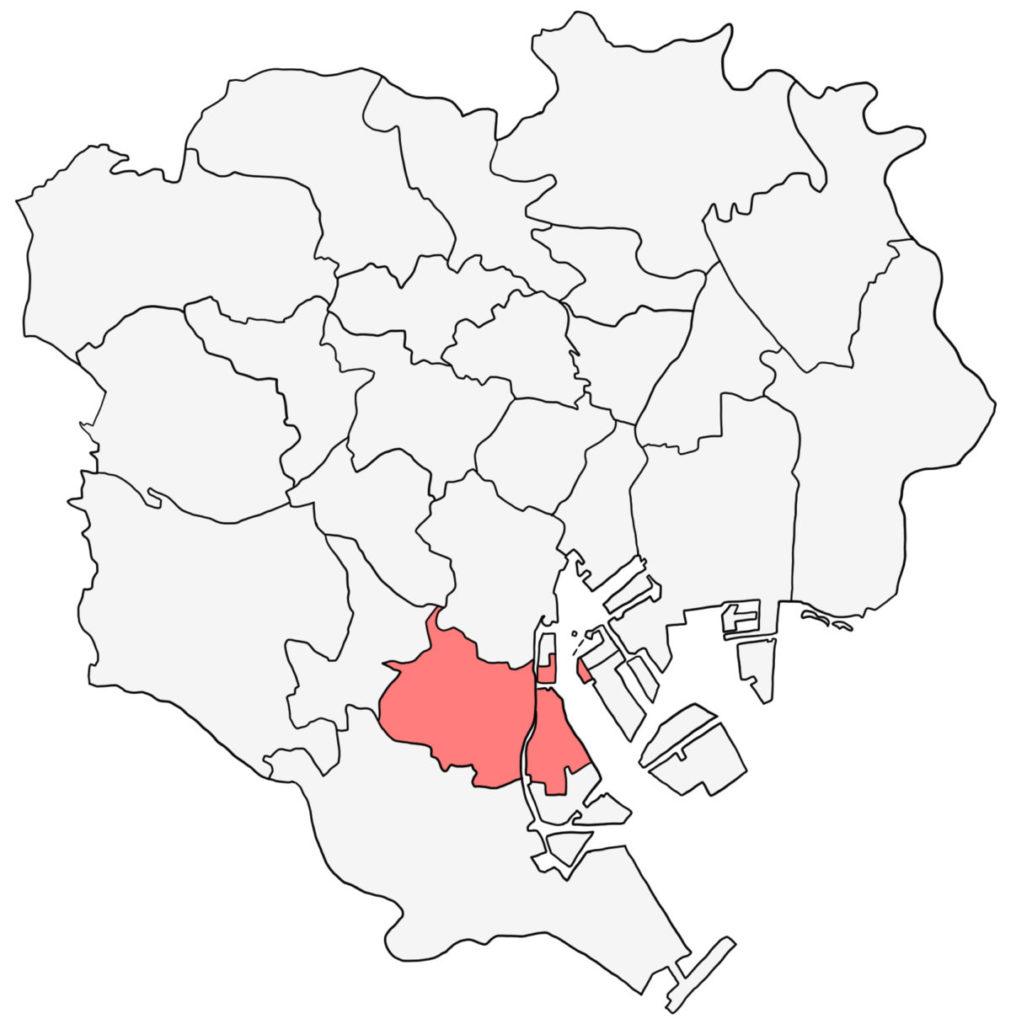 東京23区 品川区 白地図