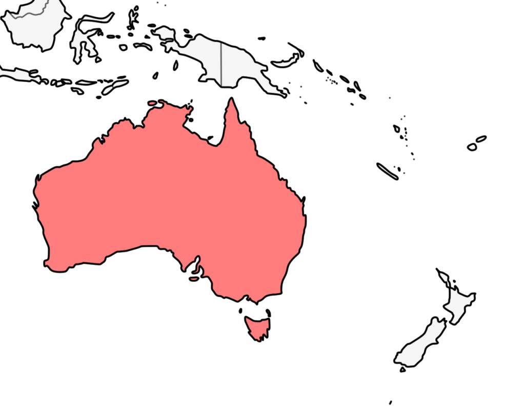 オセアニア オーストラリア 白地図
