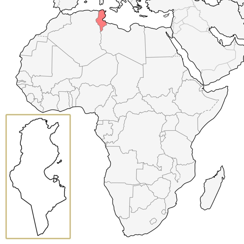 チュニジア アフリカ 地図