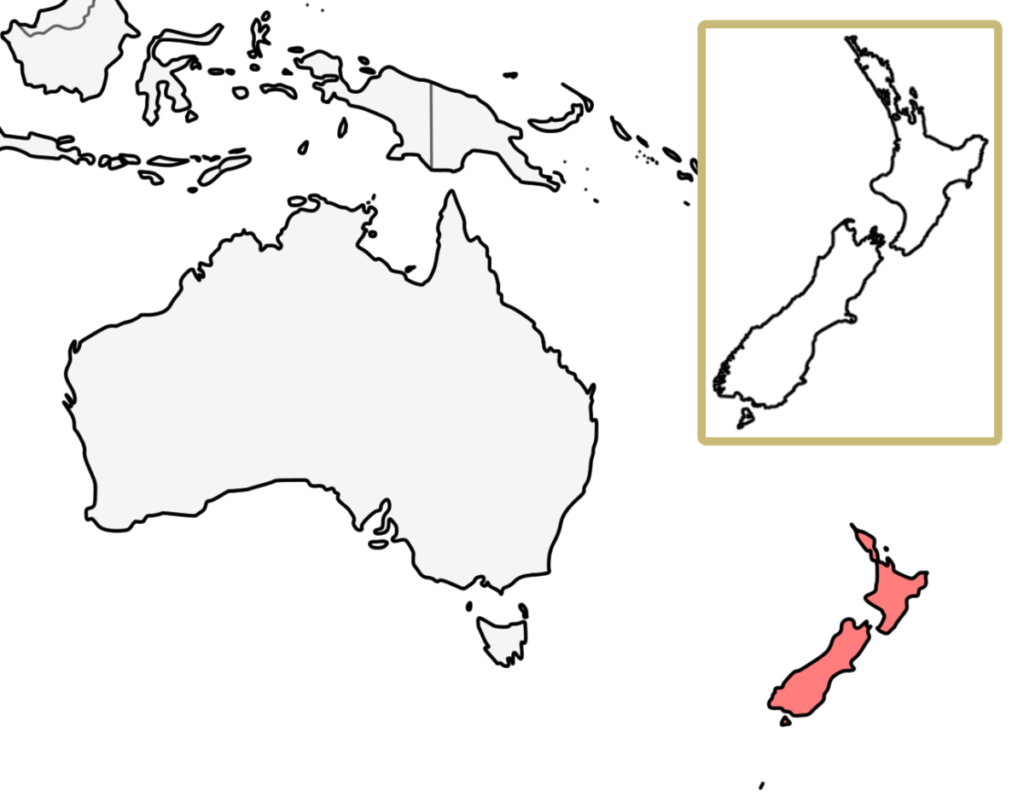 オセアニア ニュージーランド 白地図