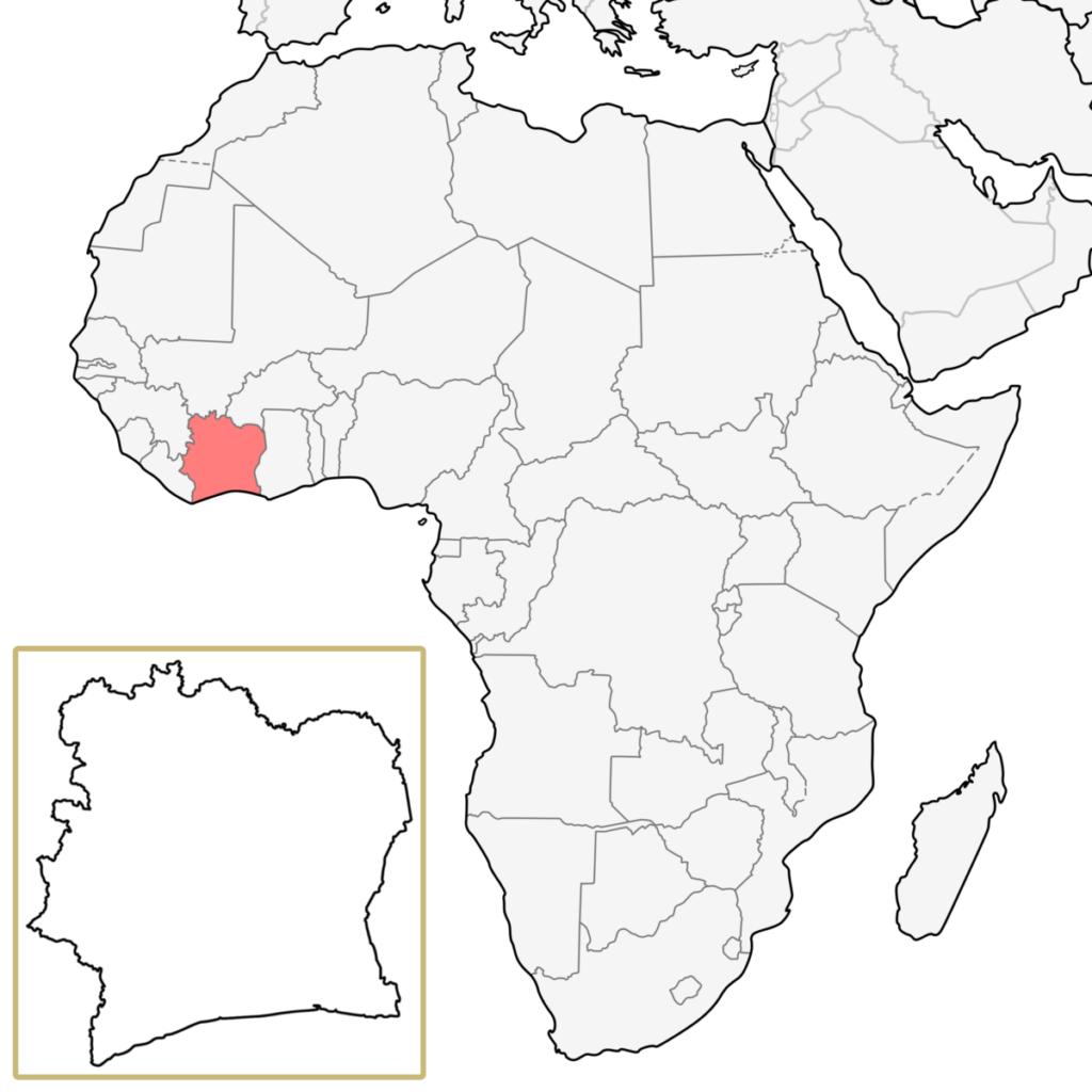 コートジボワール アフリカ 地図