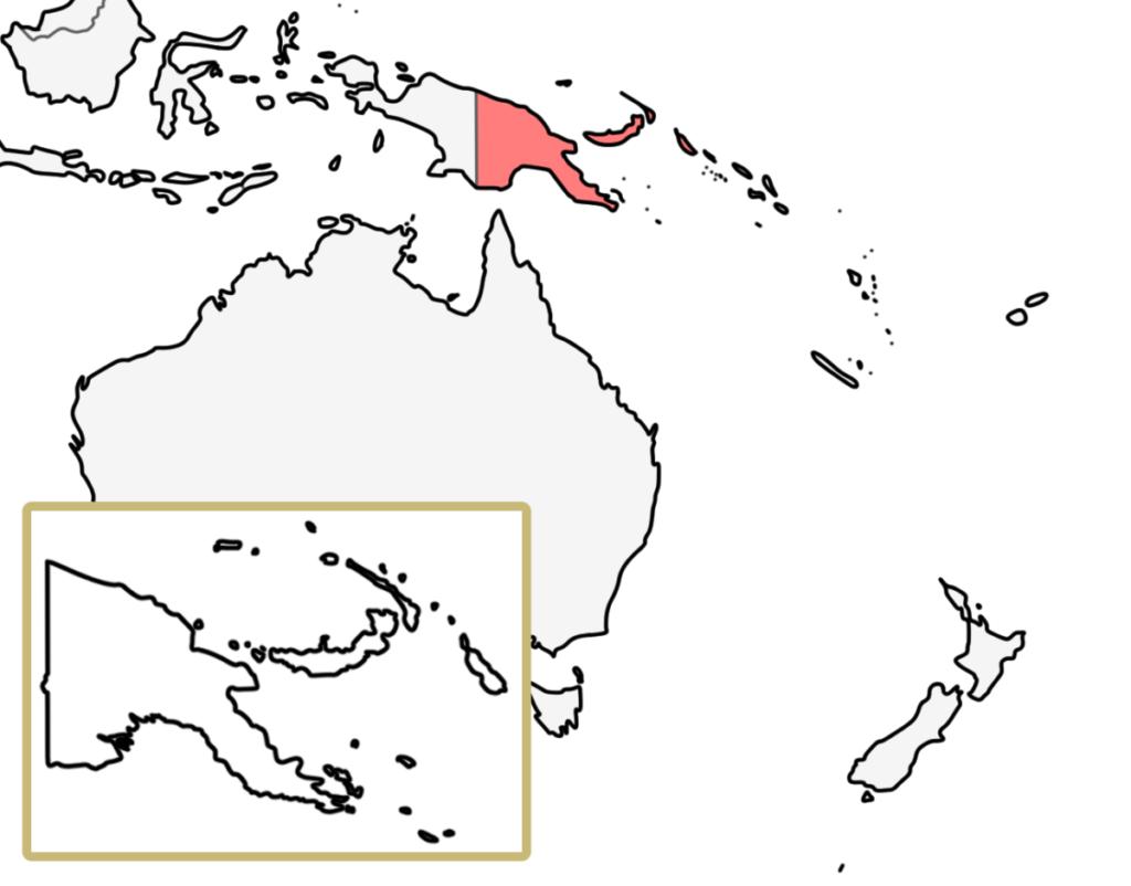 パプアニューギニア ニュージーランド 白地図