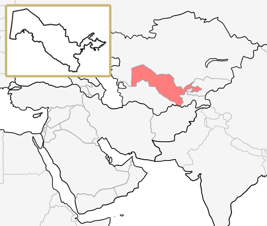 中東 ウズベキスタン 地図