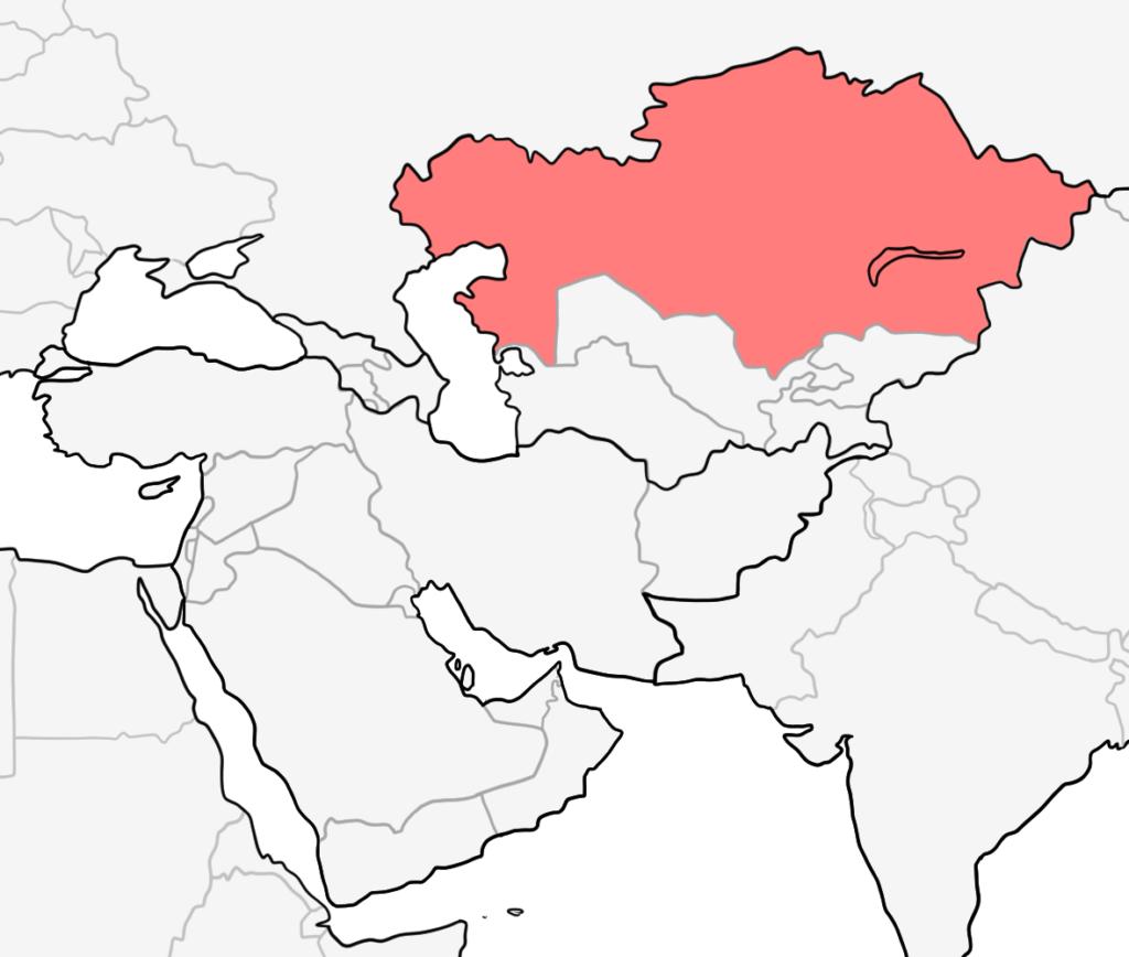 中東 カザフスタン 地図