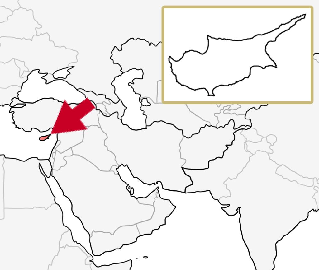 中東 キプロス 地図